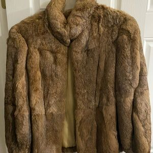 Jackets & Blazers - Size large gently used brown rabbit fur coat